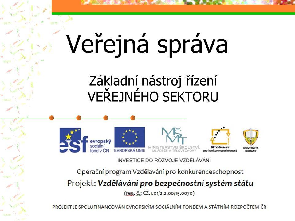 Veřejná správa Základní nástroj řízení VEŘEJNÉHO SEKTORU