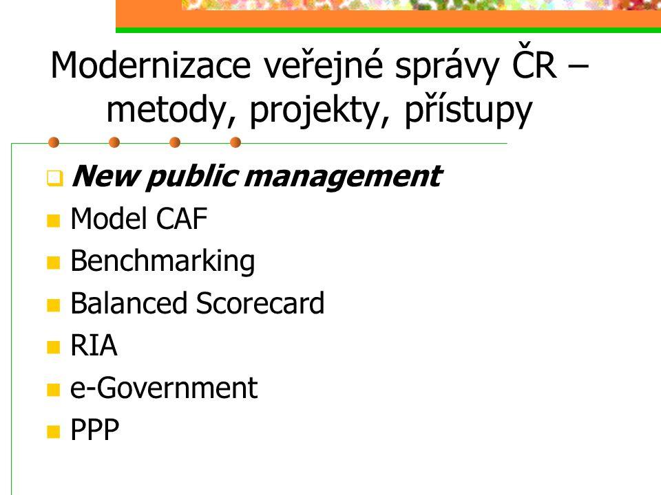 Modernizace veřejné správy ČR – metody, projekty, přístupy  New public management Model CAF Benchmarking Balanced Scorecard RIA e-Government PPP