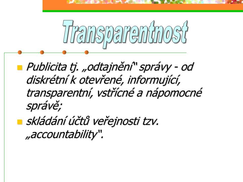 """Publicita tj. """"odtajnění"""" správy - od diskrétní k otevřené, informující, transparentní, vstřícné a nápomocné správě; Publicita tj. """"odtajnění"""" správy"""