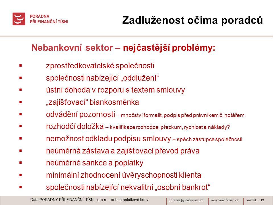 www.finacnitisen.czporadna@finacnitisen.czsnímek: 19 Zadluženost očima poradců Nebankovní sektor – nejčastější problémy:  zprostředkovatelské společn