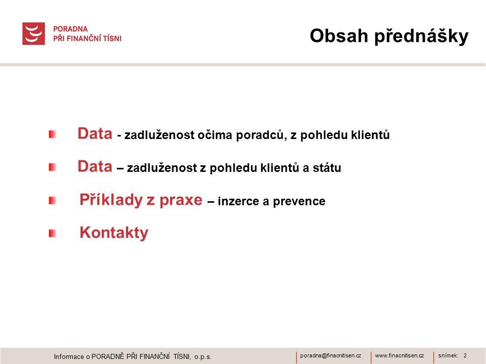 www.finacnitisen.czporadna@finacnitisen.cz Obsah přednášky Data - zadluženost očima poradců, z pohledu klientů Data – zadluženost z pohledu klientů a