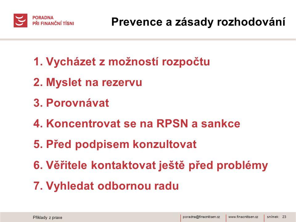 www.finacnitisen.czporadna@finacnitisen.cz Prevence a zásady rozhodování 1. Vycházet z možností rozpočtu 2. Myslet na rezervu 3. Porovnávat 4. Koncent