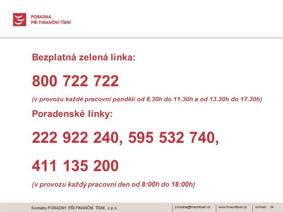 www.finacnitisen.czporadna@finacnitisen.cz Bezplatná zelená linka: 800 722 722 (v provozu každé pracovní pondělí od 8.30h do 11.30h a od 13.30h do 17.