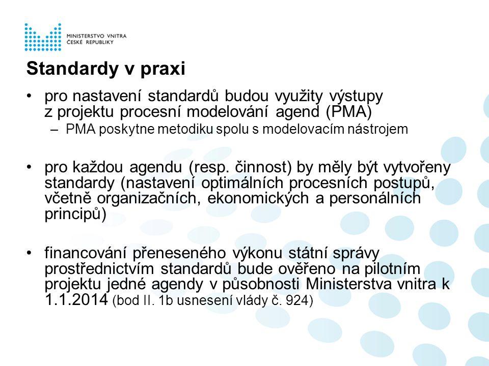 Standardy v praxi pro nastavení standardů budou využity výstupy z projektu procesní modelování agend (PMA) –PMA poskytne metodiku spolu s modelovacím nástrojem pro každou agendu (resp.