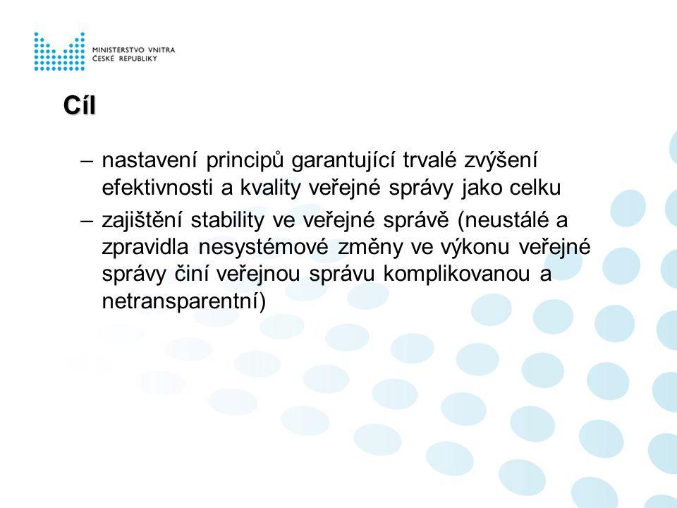 Cíl –nastavení principů garantující trvalé zvýšení efektivnosti a kvality veřejné správy jako celku –zajištění stability ve veřejné správě (neustálé a zpravidla nesystémové změny ve výkonu veřejné správy činí veřejnou správu komplikovanou a netransparentní)
