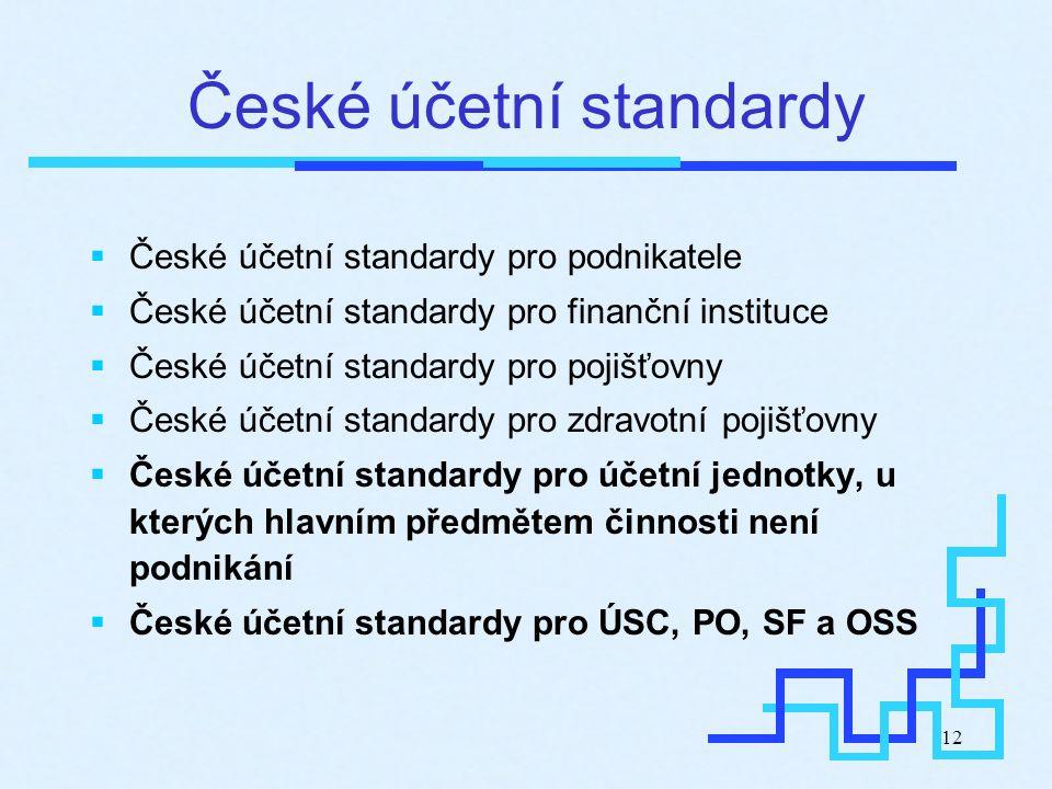 12 České účetní standardy  České účetní standardy pro podnikatele  České účetní standardy pro finanční instituce  České účetní standardy pro pojišť