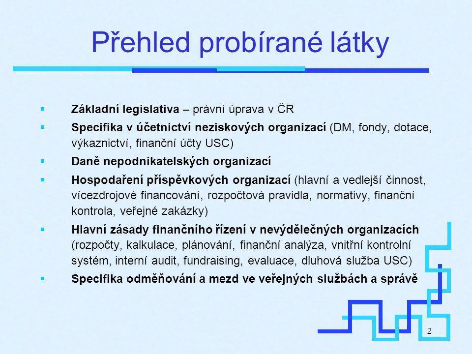 2 Přehled probírané látky  Základní legislativa – právní úprava v ČR  Specifika v účetnictví neziskových organizací (DM, fondy, dotace, výkaznictví,