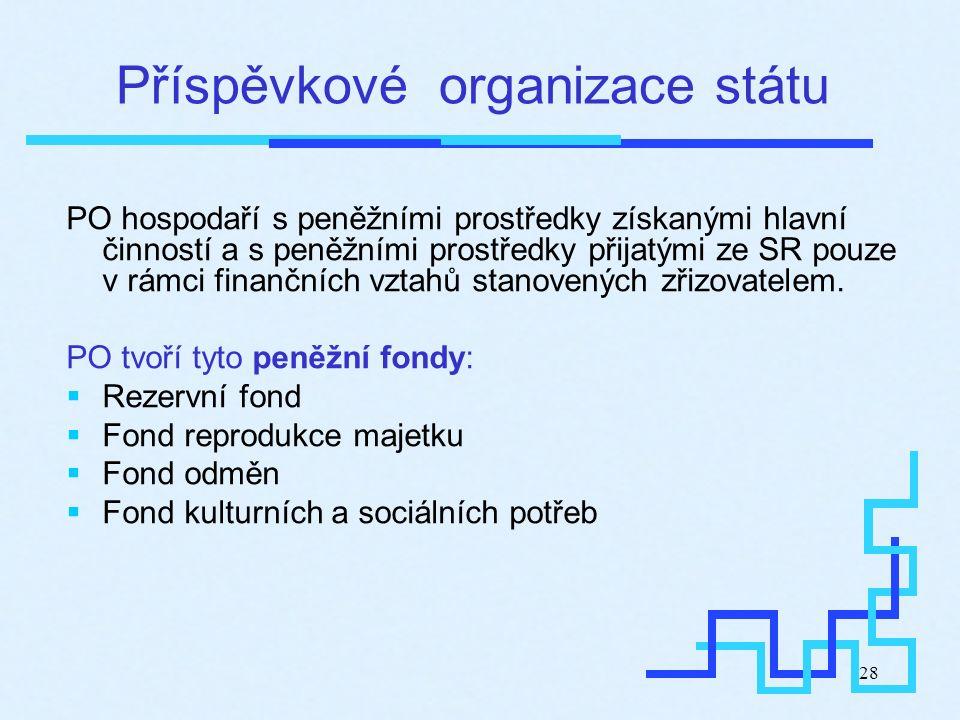 28 Příspěvkové organizace státu PO hospodaří s peněžními prostředky získanými hlavní činností a s peněžními prostředky přijatými ze SR pouze v rámci f