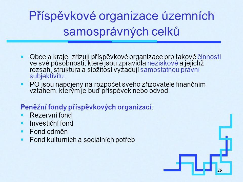 29 Příspěvkové organizace územních samosprávných celků  Obce a kraje zřizují příspěvkové organizace pro takové činnosti ve své působnosti, které jsou