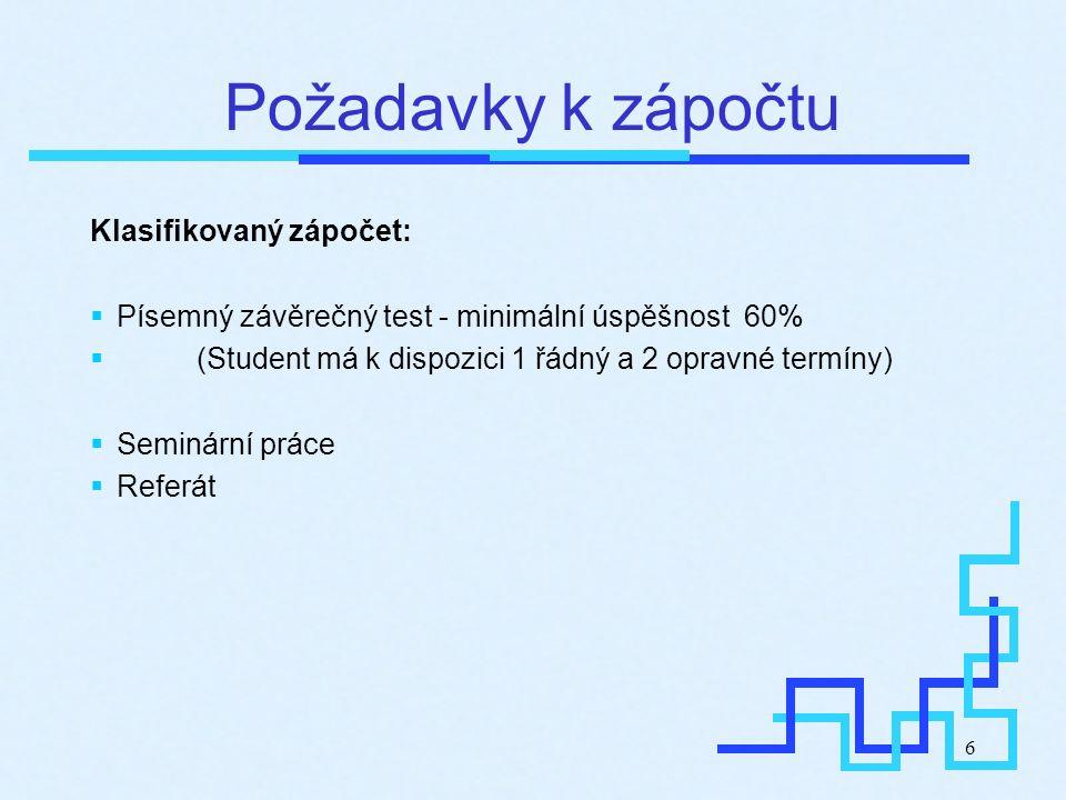 6 Požadavky k zápočtu Klasifikovaný zápočet:  Písemný závěrečný test - minimální úspěšnost 60%  (Student má k dispozici 1 řádný a 2 opravné termíny)