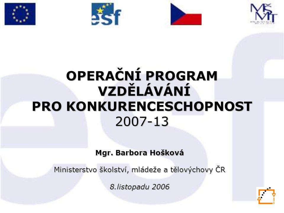 OPERAČNÍ PROGRAM VZDĚLÁVÁNÍ PRO KONKURENCESCHOPNOST 2007-13 Mgr.