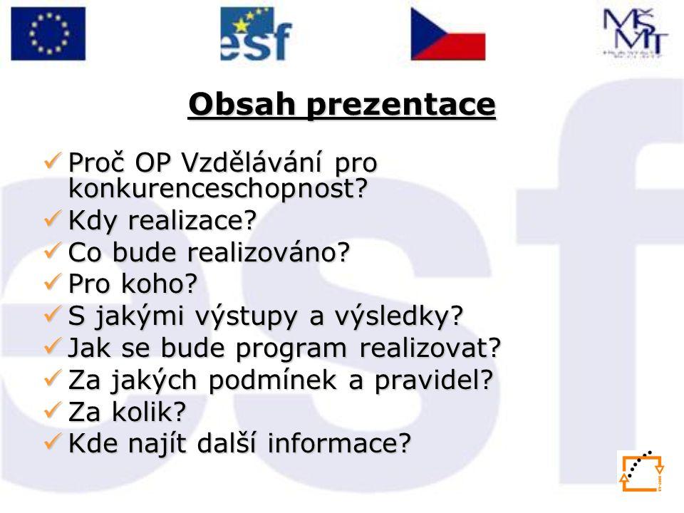 Obsah prezentace Proč OP Vzdělávání pro konkurenceschopnost.