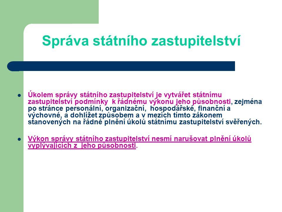 Orgány správy státního zastupitelství Ústředním orgánem správy státního zastupitelství je ministerstvo.