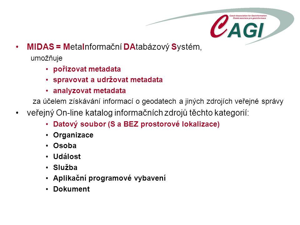 MIDAS = MetaInformační DAtabázový Systém, umožňuje pořizovat metadata spravovat a udržovat metadata analyzovat metadata za účelem získávání informací o geodatech a jiných zdrojích veřejné správy veřejný On-line katalog informačních zdrojů těchto kategorií: Datový soubor (S a BEZ prostorové lokalizace) Organizace Osoba Událost Služba Aplikační programové vybavení Dokument