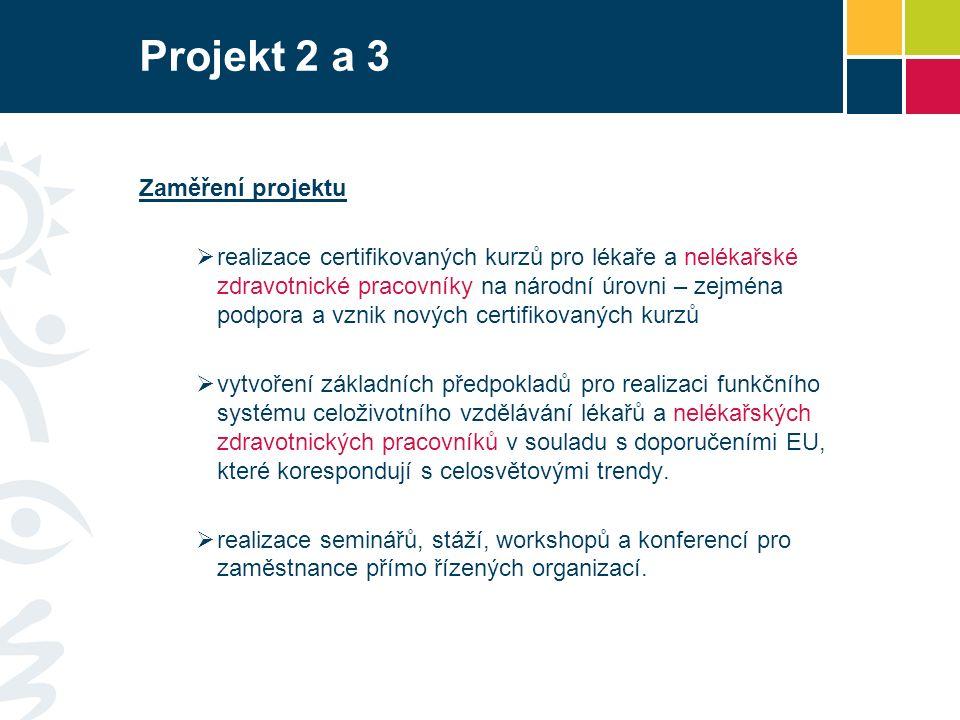Projekt 2 a 3 Zaměření projektu  realizace certifikovaných kurzů pro lékaře a nelékařské zdravotnické pracovníky na národní úrovni – zejména podpora a vznik nových certifikovaných kurzů  vytvoření základních předpokladů pro realizaci funkčního systému celoživotního vzdělávání lékařů a nelékařských zdravotnických pracovníků v souladu s doporučeními EU, které korespondují s celosvětovými trendy.