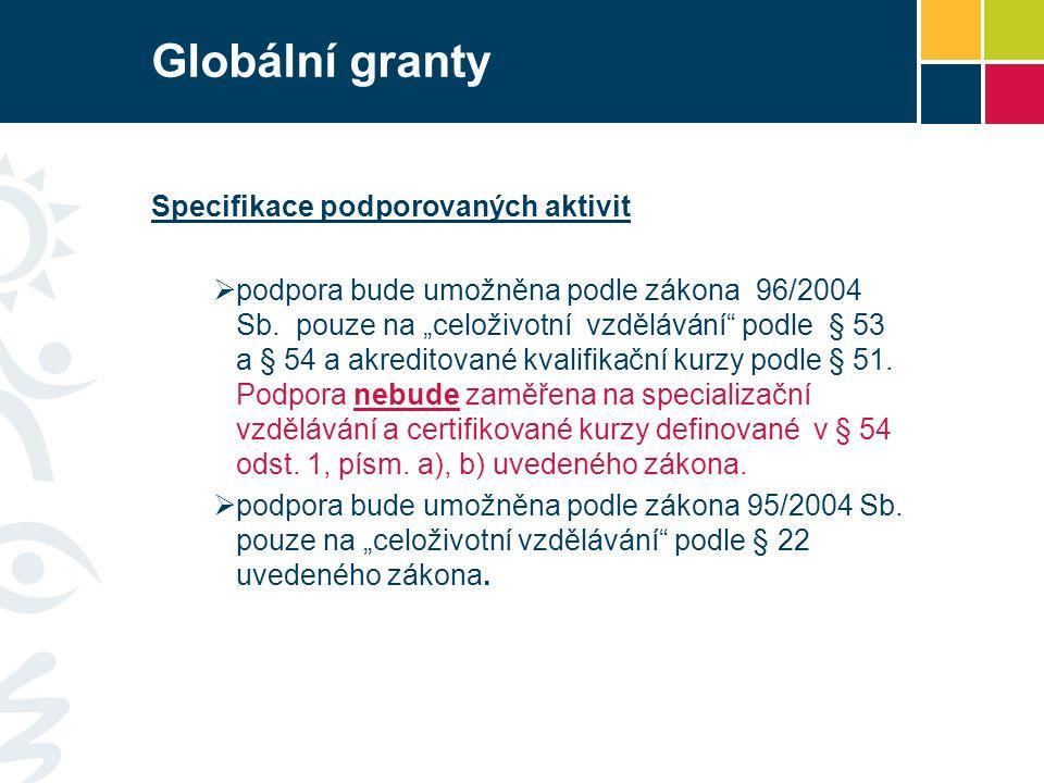 Globální granty Specifikace podporovaných aktivit  podpora bude umožněna podle zákona 96/2004 Sb.