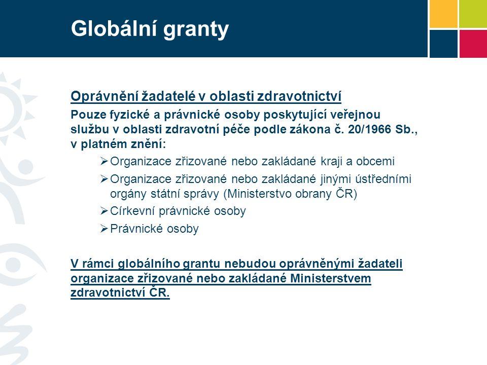 Globální granty Oprávnění žadatelé v oblasti zdravotnictví Pouze fyzické a právnické osoby poskytující veřejnou službu v oblasti zdravotní péče podle zákona č.