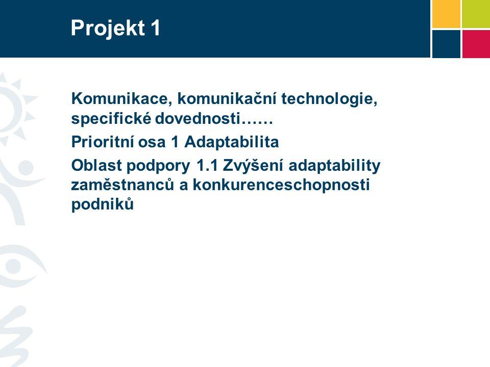 Projekt 1 Komunikace, komunikační technologie, specifické dovednosti…… Prioritní osa 1 Adaptabilita Oblast podpory 1.1 Zvýšení adaptability zaměstnanců a konkurenceschopnosti podniků