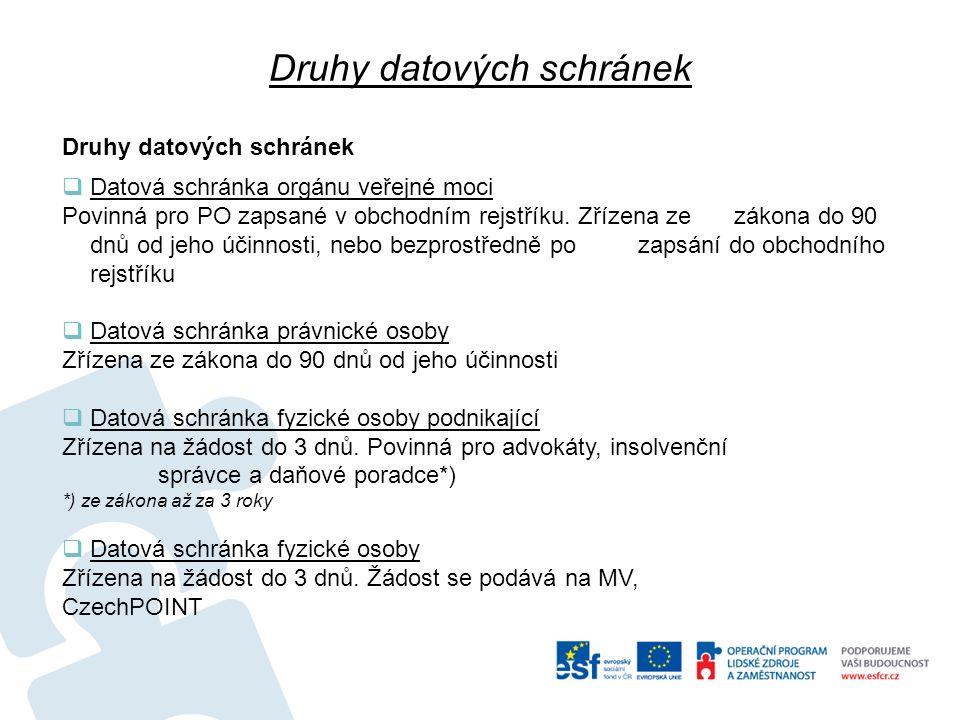 Druhy datových schránek  Datová schránka orgánu veřejné moci Povinná pro PO zapsané v obchodním rejstříku. Zřízena ze zákona do 90 dnů od jeho účinno