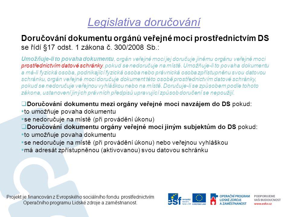 Projekt je financován z Evropského sociálního fondu prostřednictvím Operačního programu Lidské zdroje a zaměstnanost. Doručování dokumentu orgánů veře
