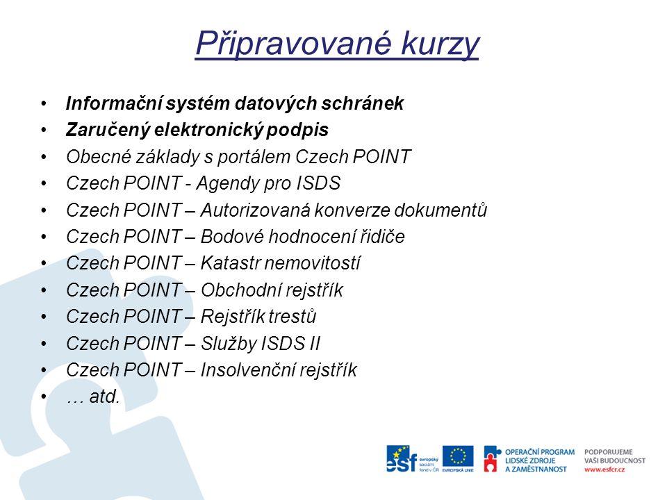 Připravované kurzy Informační systém datových schránek Zaručený elektronický podpis Obecné základy s portálem Czech POINT Czech POINT - Agendy pro ISD