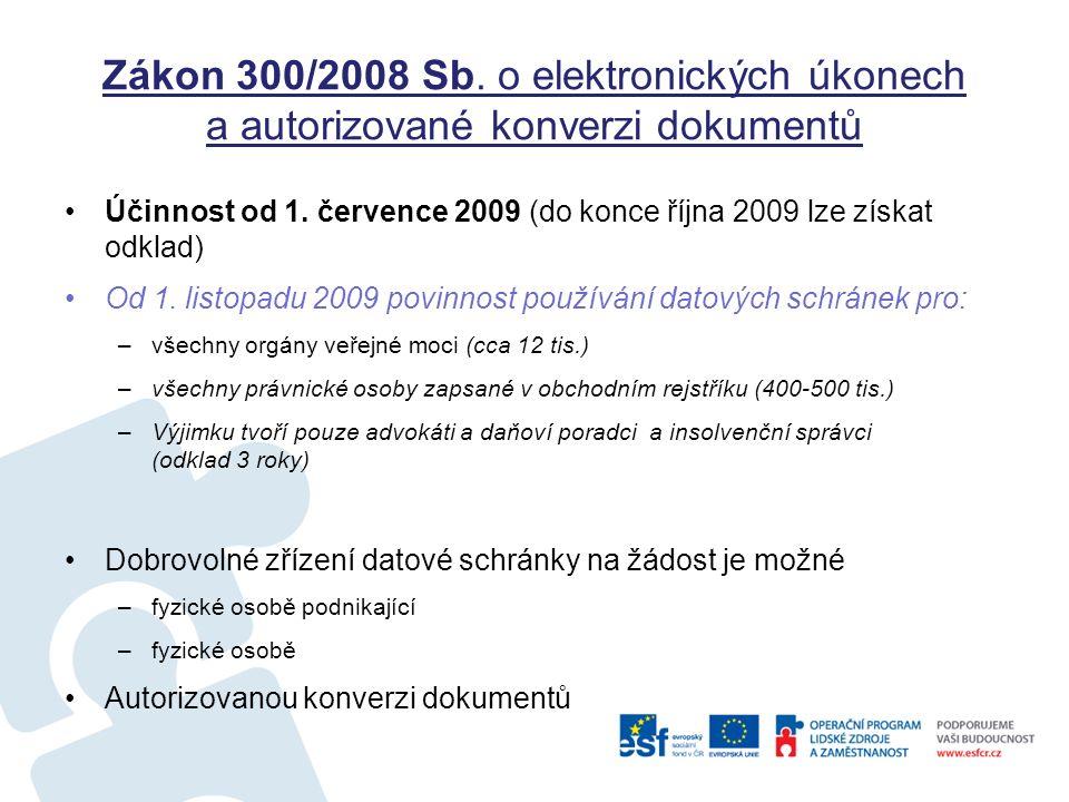 Zákon 300/2008 Sb. o elektronických úkonech a autorizované konverzi dokumentů Účinnost od 1. července 2009 (do konce října 2009 lze získat odklad) Od
