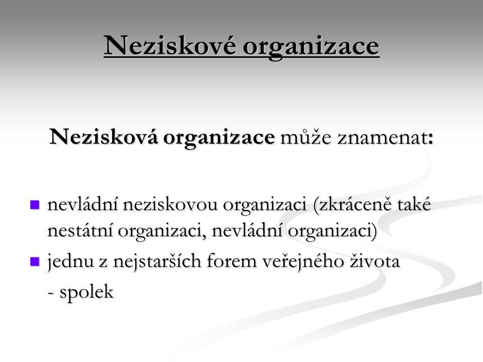 Neziskové organizace Nezisková organizace může znamenat: nevládní neziskovou organizaci (zkráceně také nestátní organizaci, nevládní organizaci) nevládní neziskovou organizaci (zkráceně také nestátní organizaci, nevládní organizaci) jednu z nejstarších forem veřejného života jednu z nejstarších forem veřejného života - spolek