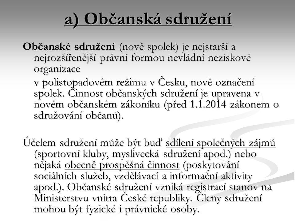 a) Občanská sdružení Občanské sdružení (nově spolek) je nejstarší a nejrozšířenější právní formou nevládní neziskové organizace v polistopadovém režimu v Česku, nově označení spolek.