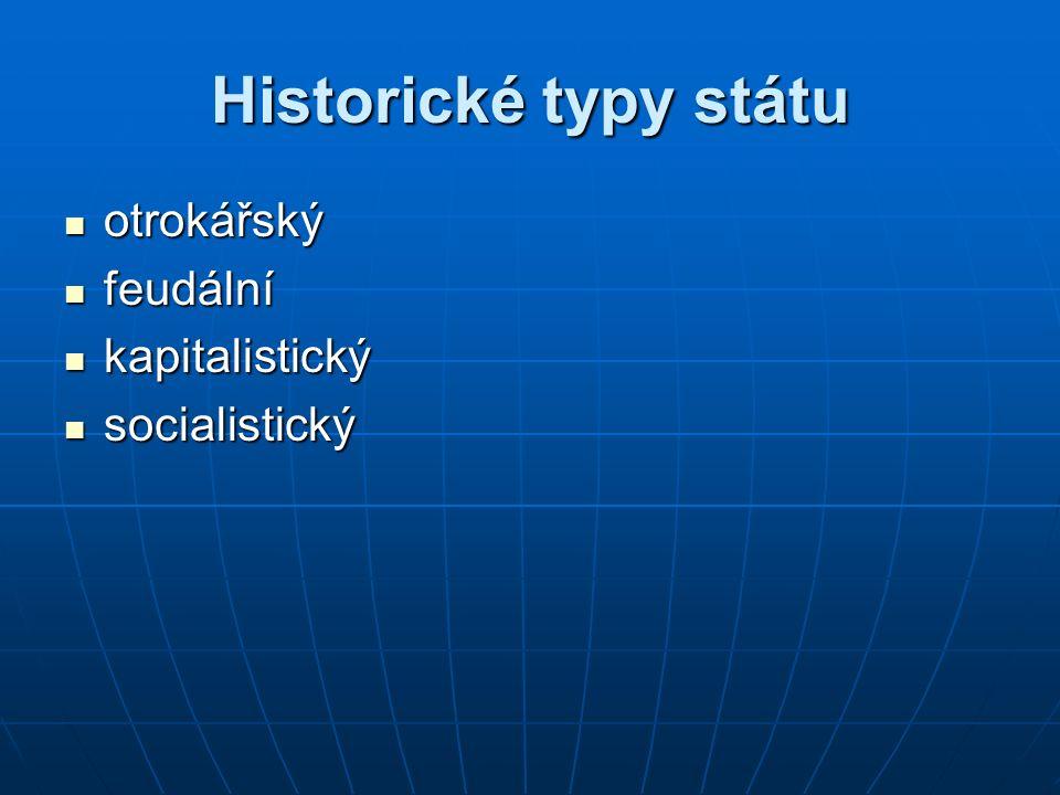 Historické typy státu otrokářský otrokářský feudální feudální kapitalistický kapitalistický socialistický socialistický