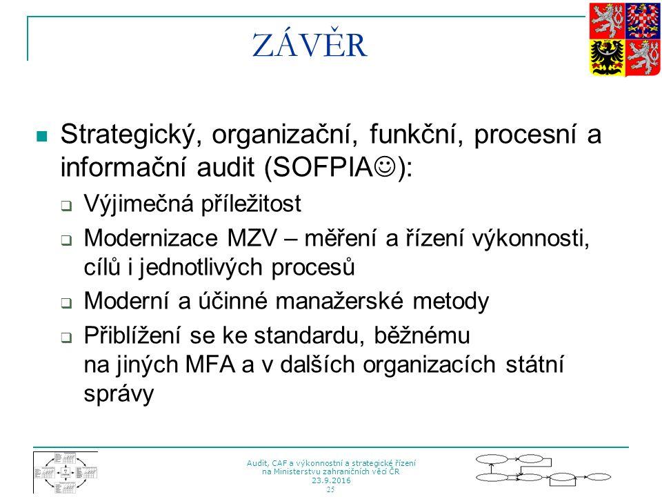 Audit, CAF a výkonnostní a strategické řízení na Ministerstvu zahraničních věcí ČR 23.9.2016 25 ZÁVĚR Strategický, organizační, funkční, procesní a in