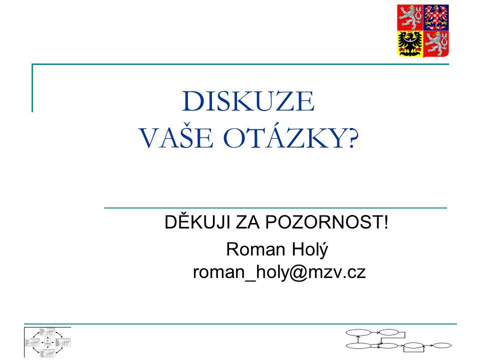 DISKUZE VAŠE OTÁZKY? DĚKUJI ZA POZORNOST! Roman Holý roman_holy@mzv.cz