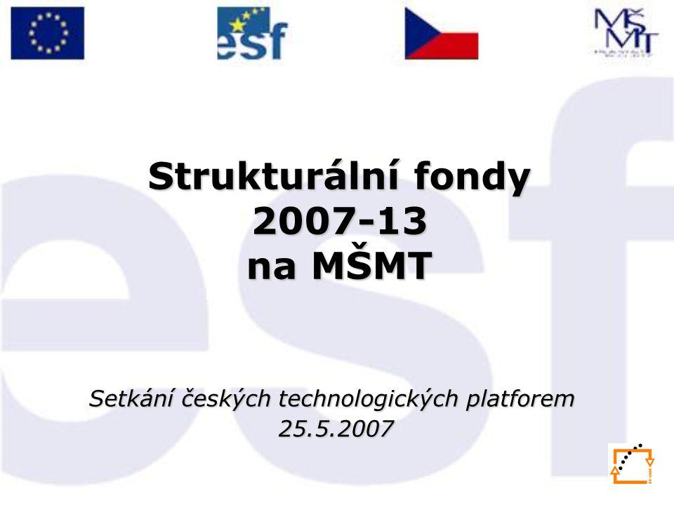Strukturální fondy 2007-13 na MŠMT Setkání českých technologických platforem 25.5.2007 25.5.2007