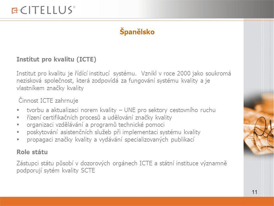 11 Španělsko Institut pro kvalitu (ICTE) Institut pro kvalitu je řídící institucí systému.