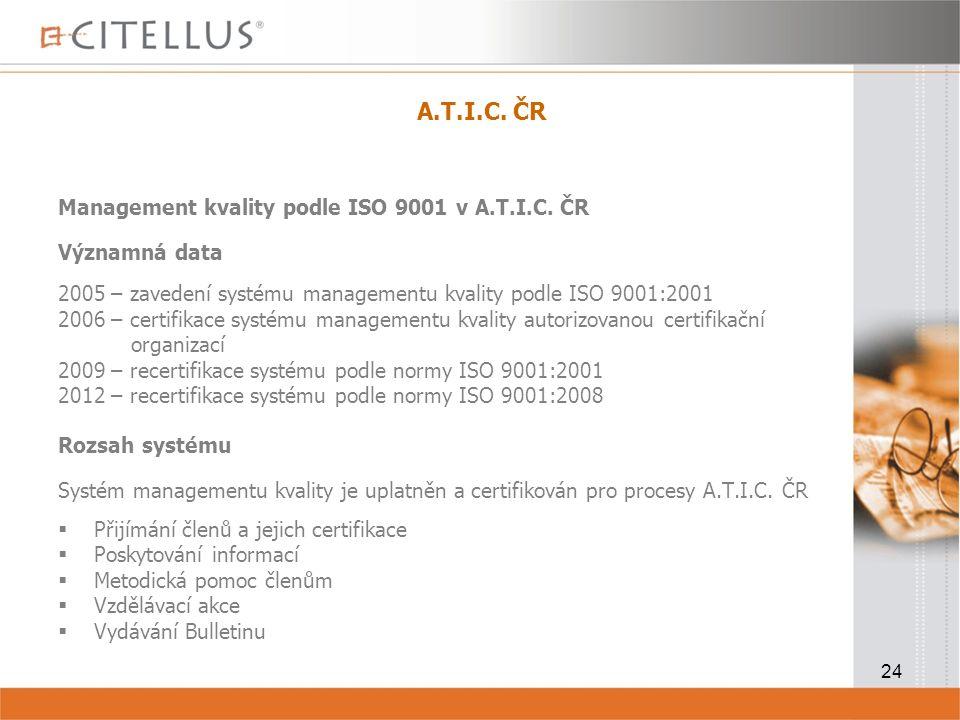 24 A.T.I.C.ČR Management kvality podle ISO 9001 v A.T.I.C.