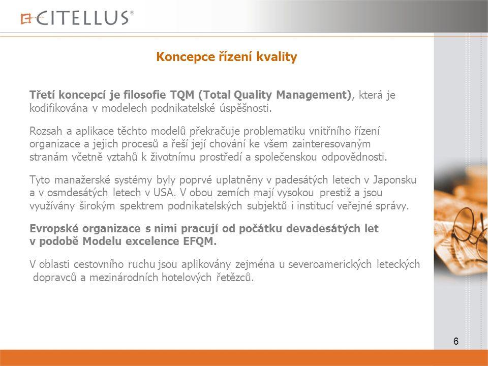 6 Koncepce řízení kvality Třetí koncepcí je filosofie TQM (Total Quality Management), která je kodifikována v modelech podnikatelské úspěšnosti.