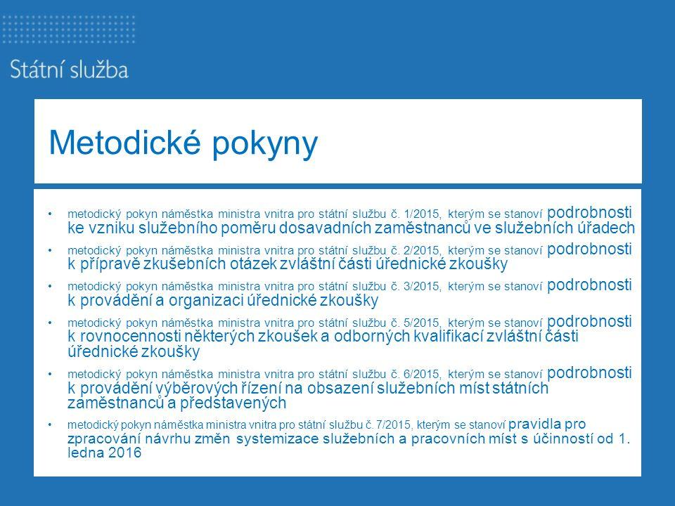 Metodické pokyny metodický pokyn náměstka ministra vnitra pro státní službu č. 1/2015, kterým se stanoví podrobnosti ke vzniku služebního poměru dosav