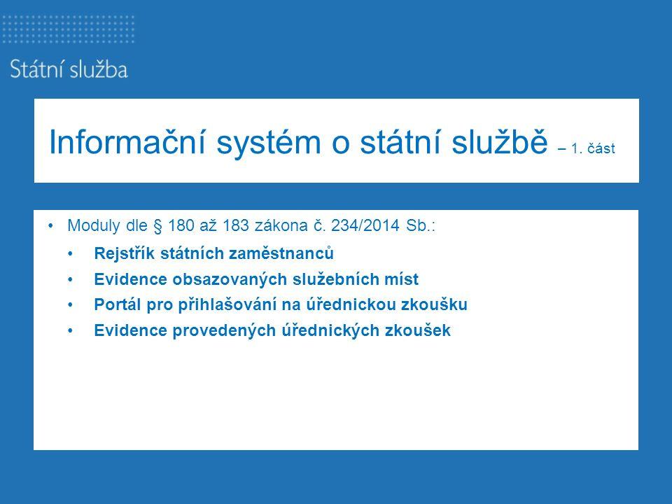 Informační systém o státní službě – 1. část Moduly dle § 180 až 183 zákona č. 234/2014 Sb.: Rejstřík státních zaměstnanců Evidence obsazovaných služeb
