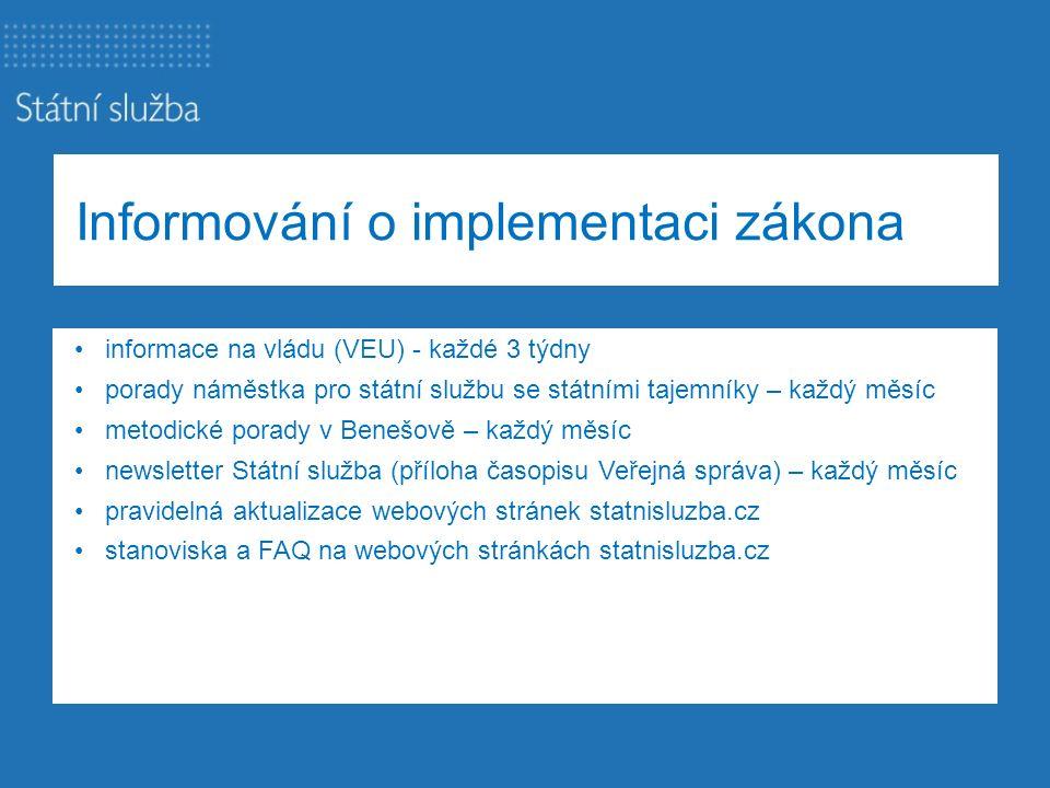 Informování o implementaci zákona informace na vládu (VEU) - každé 3 týdny porady náměstka pro státní službu se státními tajemníky – každý měsíc metod