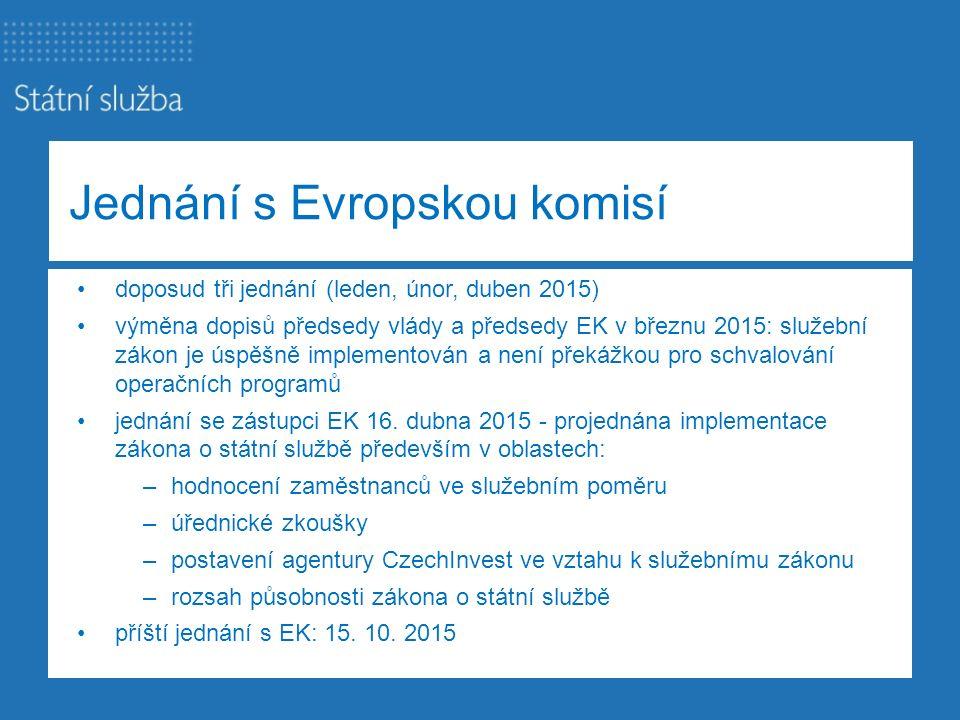 Jednání s Evropskou komisí doposud tři jednání (leden, únor, duben 2015) výměna dopisů předsedy vlády a předsedy EK v březnu 2015: služební zákon je ú