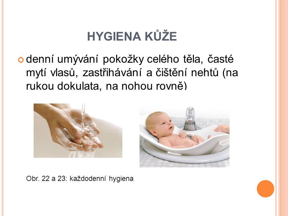 HYGIENA KŮŽE denní umývání pokožky celého těla, časté mytí vlasů, zastřihávání a čištění nehtů (na rukou dokulata, na nohou rovně) Obr.