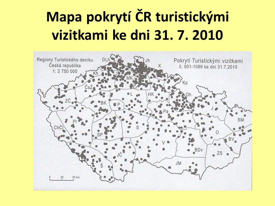 Mapa pokrytí ČR turistickými vizitkami ke dni 31. 7. 2010