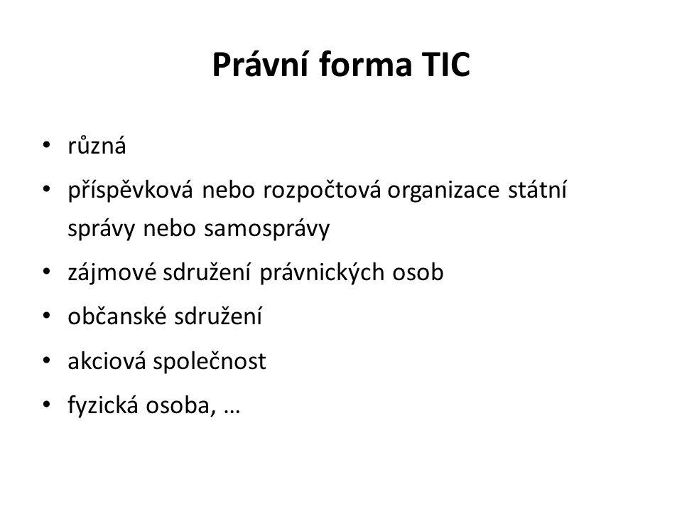 Právní forma TIC různá příspěvková nebo rozpočtová organizace státní správy nebo samosprávy zájmové sdružení právnických osob občanské sdružení akciová společnost fyzická osoba, …