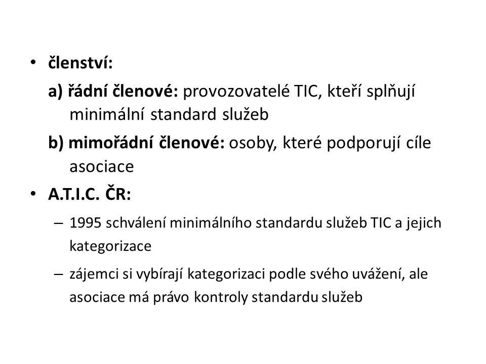 členství: a) řádní členové: provozovatelé TIC, kteří splňují minimální standard služeb b) mimořádní členové: osoby, které podporují cíle asociace A.T.