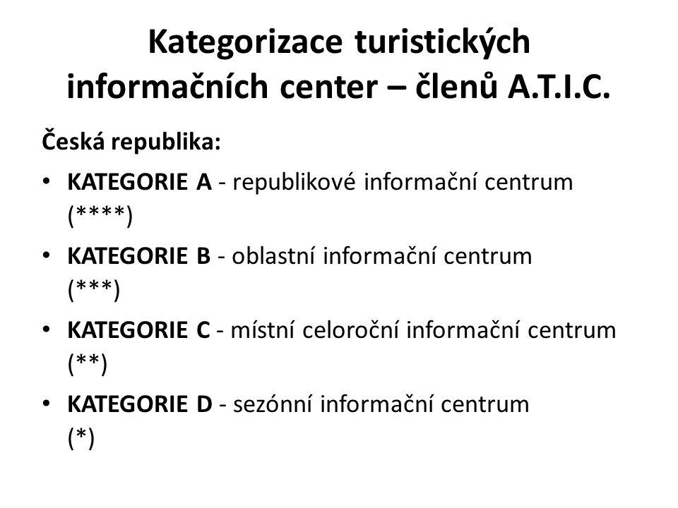 Kategorizace turistických informačních center – členů A.T.I.C. Česká republika: KATEGORIE A - republikové informační centrum (****) KATEGORIE B - obla