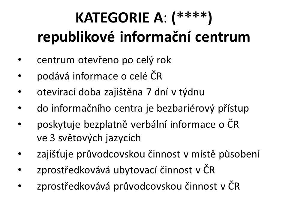 KATEGORIE A: (****) republikové informační centrum centrum otevřeno po celý rok podává informace o celé ČR otevírací doba zajištěna 7 dní v týdnu do i