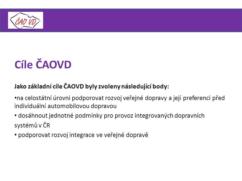 Jako základní cíle ČAOVD byly zvoleny následující body: na celostátní úrovni podporovat rozvoj veřejné dopravy a její preferenci před individuální automobilovou dopravou dosáhnout jednotné podmínky pro provoz integrovaných dopravních systémů v ČR podporovat rozvoj integrace ve veřejné dopravě Cíle ČAOVD