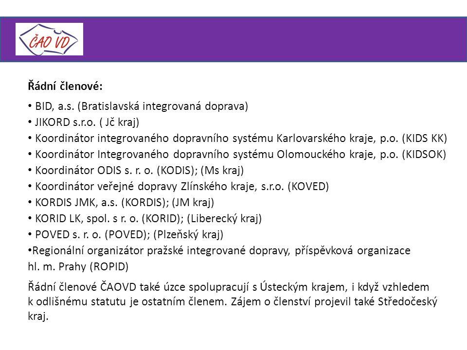 Řádní členové: BID, a.s.(Bratislavská integrovaná doprava) JIKORD s.r.o.
