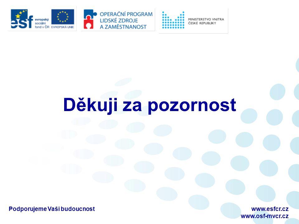 Podporujeme Vaši budoucnostwww.esfcr.cz www.osf-mvcr.cz Děkuji za pozornost