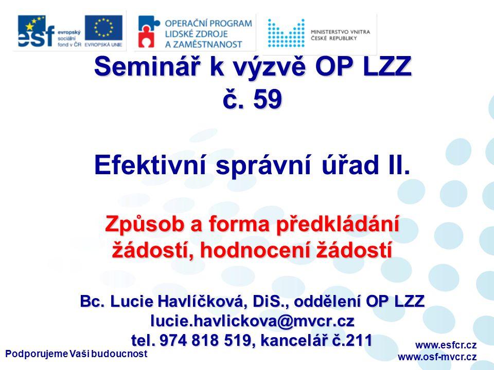 Podporujeme Vaši budoucnost www.esfcr.cz www.osf-mvcr.cz Seminář k výzvě OP LZZ č.