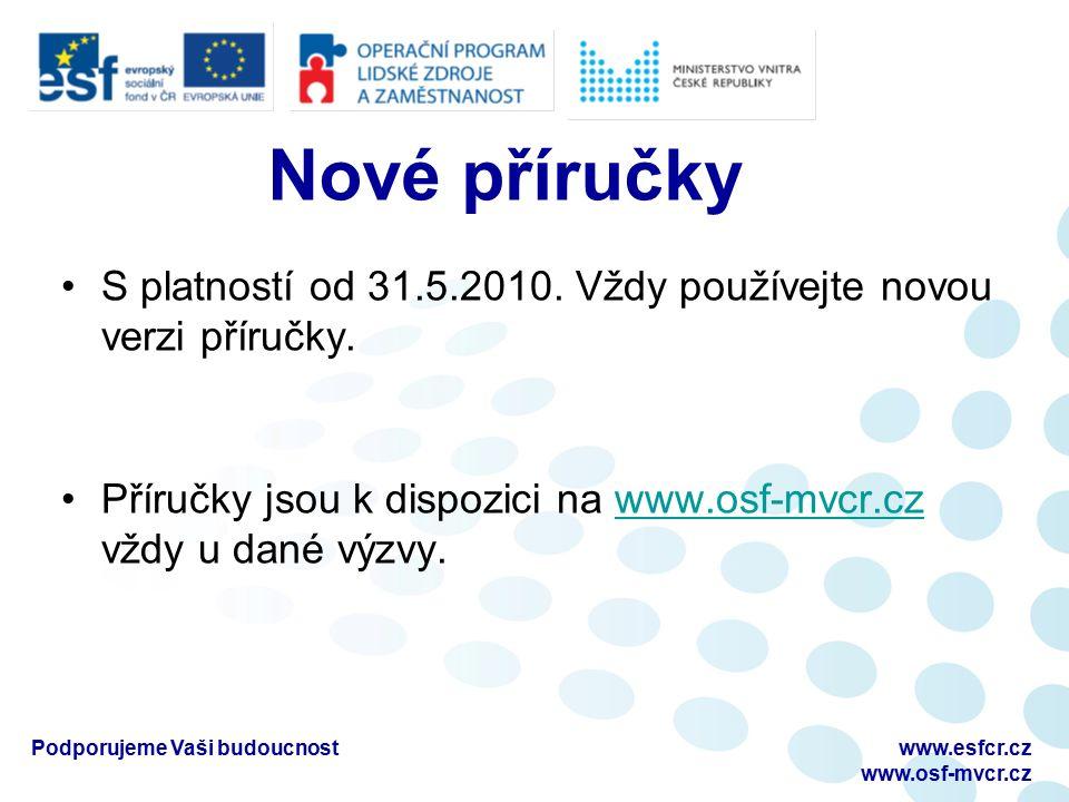 Podporujeme Vaši budoucnostwww.esfcr.cz www.osf-mvcr.cz S platností od 31.5.2010.